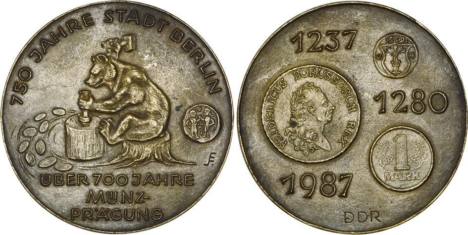Bronze 1987 Ddr 750 Jahre Berlin 700 Jahre Münze Ddr Berlin