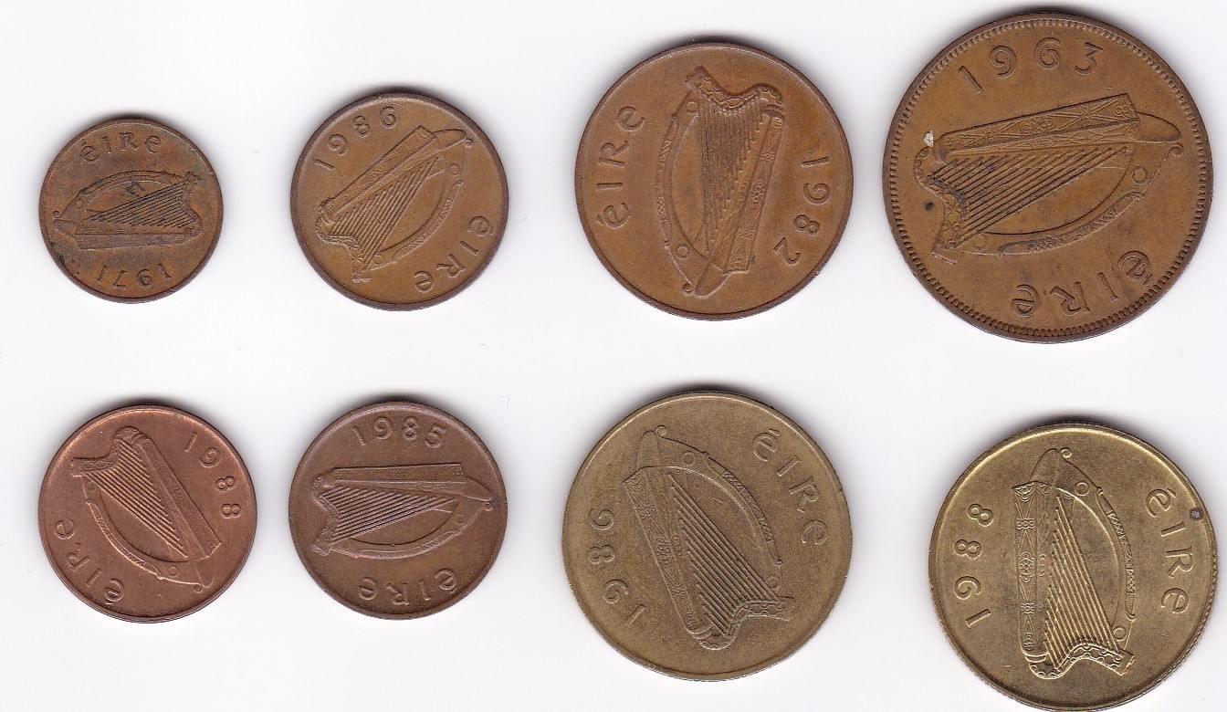 1 Penny 2 120 Pence 1 Pound 1963 1988 Irland Lot 8 Münzen Ttb Ma Shops