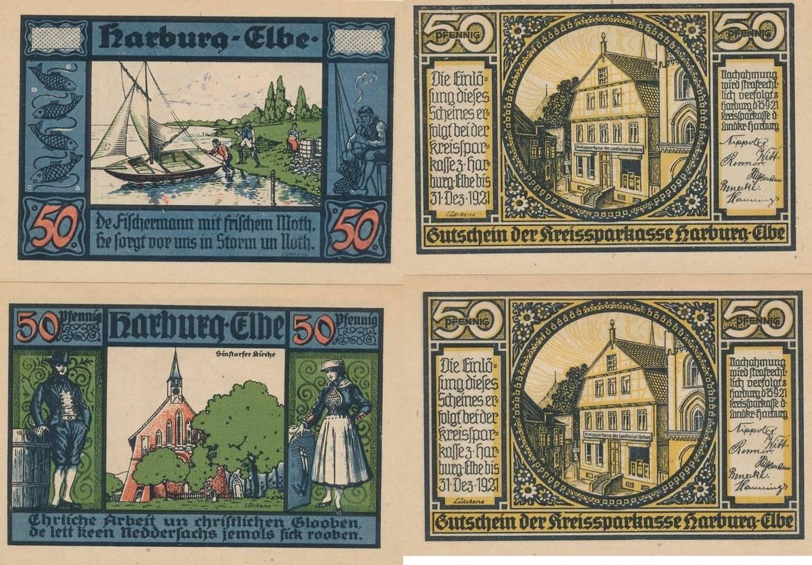more photos 16ed8 6a209 50 Pfennig 1921 Harburg-Elbe Gutschein der Kreissparkasse UNC