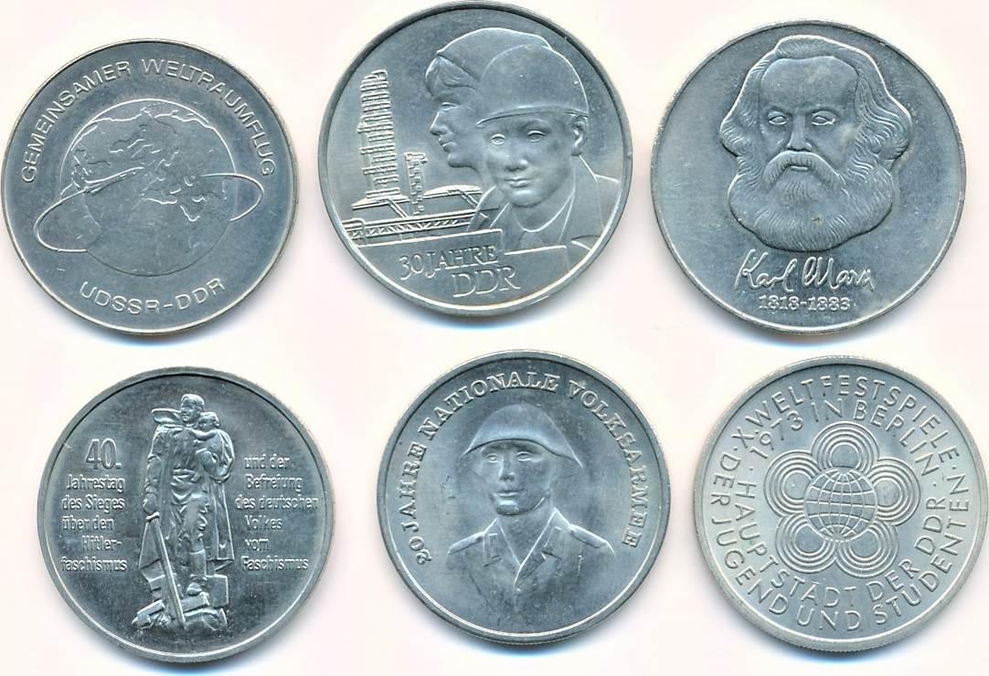 Ddr Lot 6 Verschmünzen 4 X 10 Mark 2 X 20 Mark Vorzüglich Ma Shops