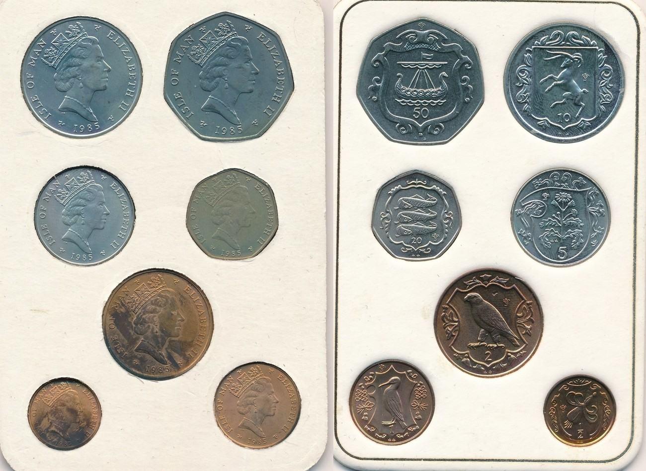 Münzsatz 1985 Isle Of Man 7 Münzen 50 20 10 5 2 Pence 1 Penny