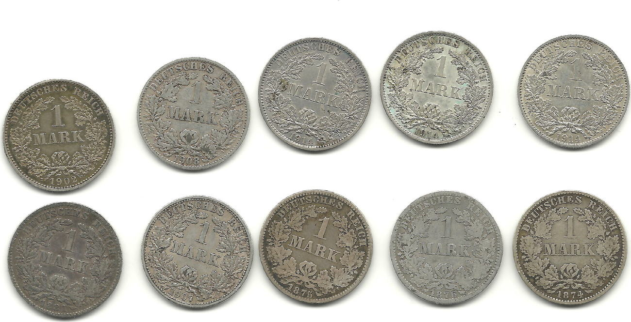 1 Mark 1874 1914 Deutschland Lot Von 10 Münzen Aus Der Kaiserzeit