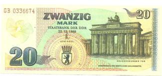 DDR 20 Mark 1989 Bankfrisch Gedenkbanknote zur Öff