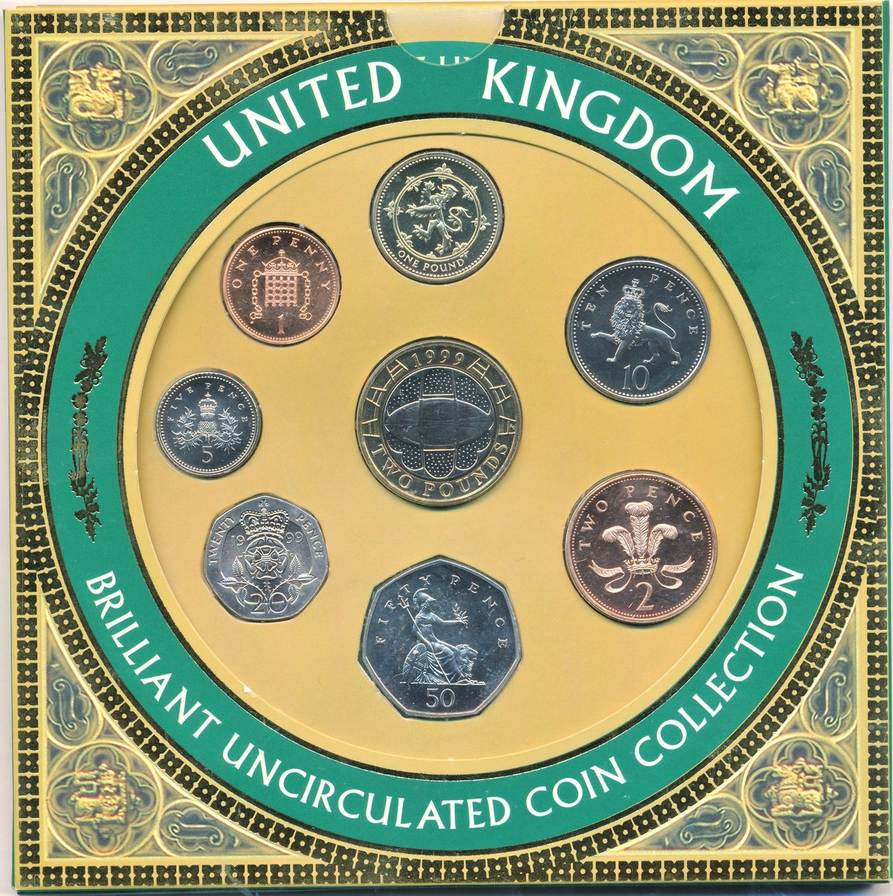 1999 England Kms 1 Penny 2 Pfund 1999 England Great Britain Uk 8