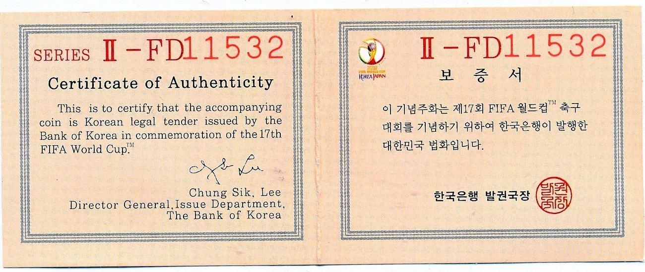 10000 Won 2002 Korea / Japan Farbmünze \