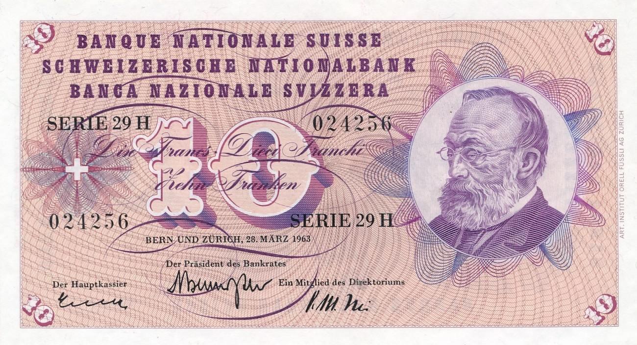 10 franken 1963 schweiz serie 29 h keller unc ma shops