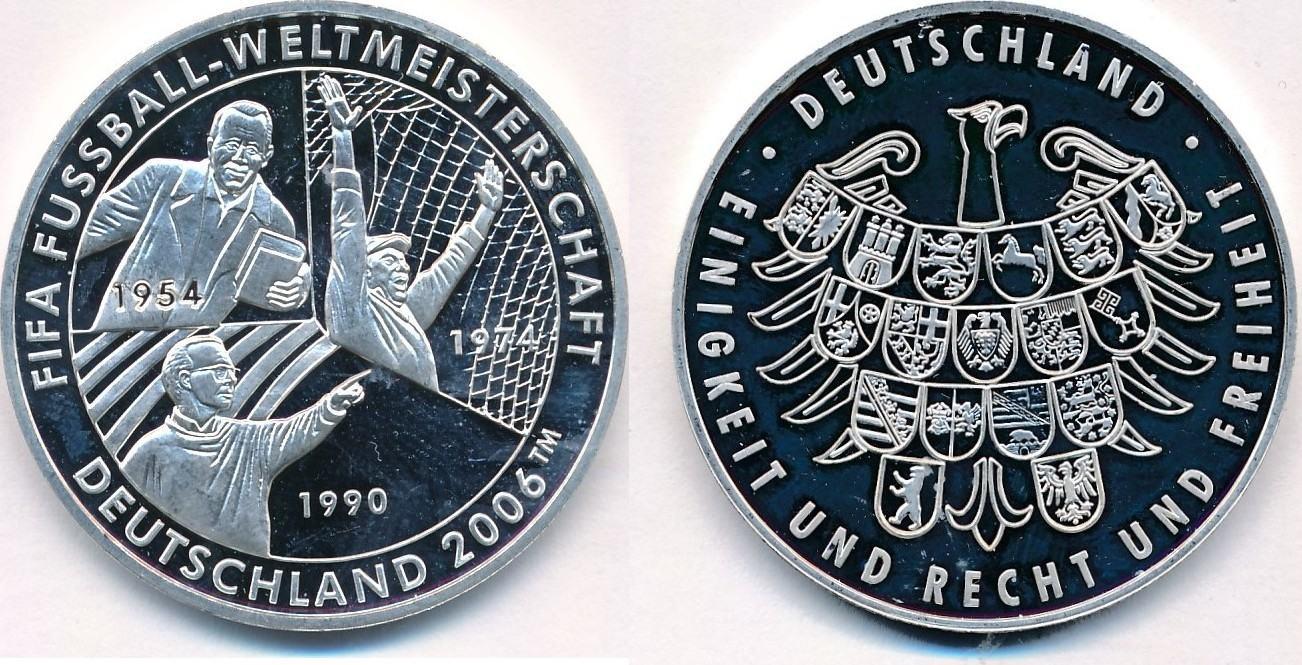 2006 Deutschland Moderne Medaille Fifa Fussball Wm Deutschland Weltmeister 1954 1974 1990