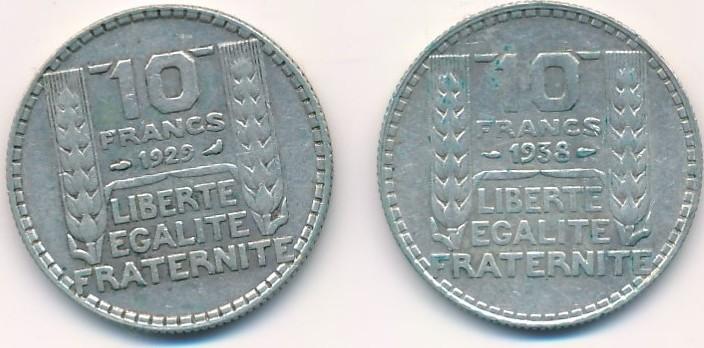 10 Francs Frankreich Lot Zwei Münzen 19291938 Vf Ma Shops