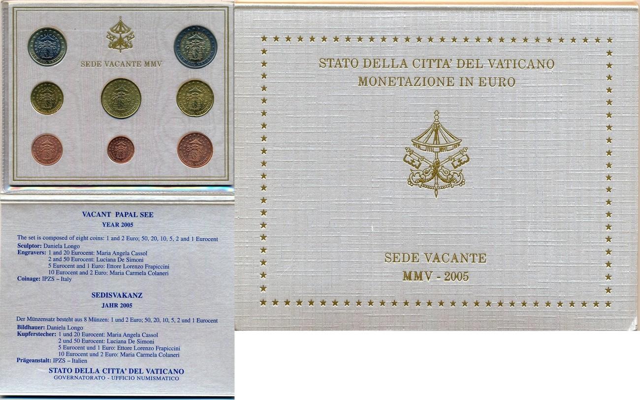 2005 Vatikan Eurosatz Sede Vacante 1 Cent 2 Euro Im Orig