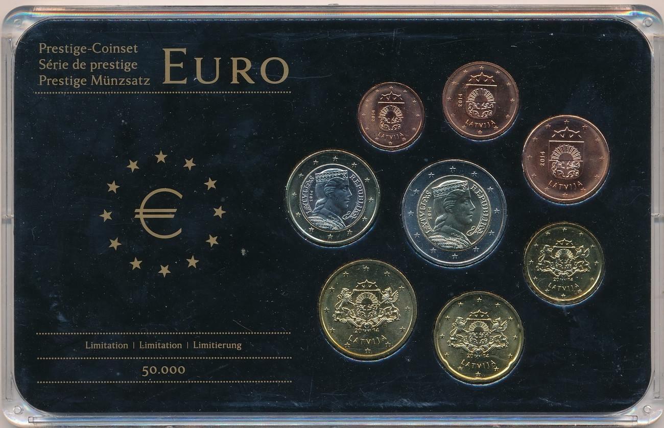 2014 Lettland Eurokurssatz 1 Cent 2 Euro Im Privaten Hartplastik