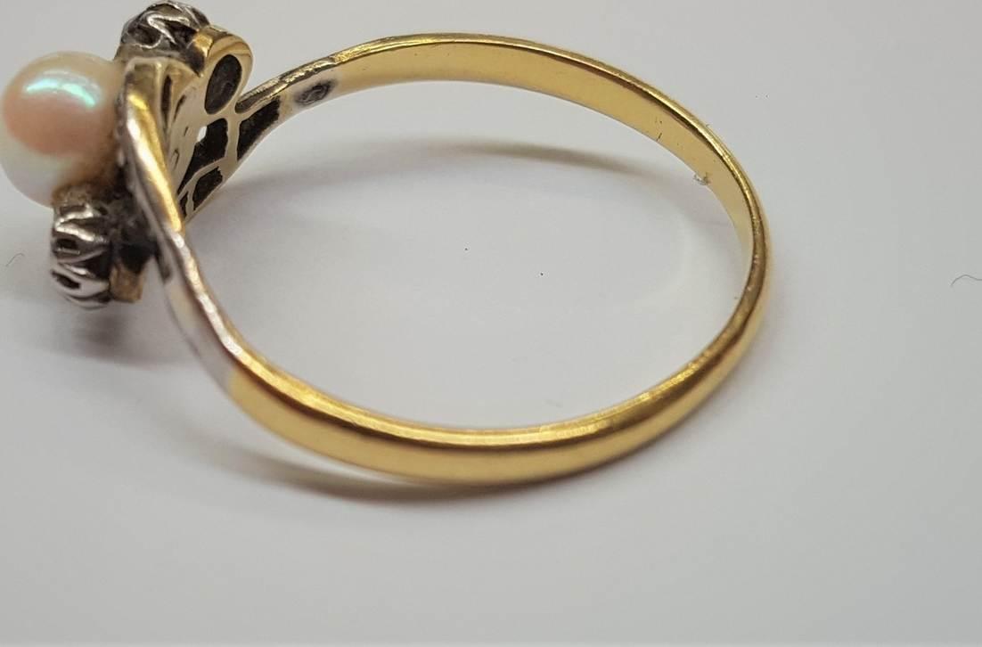 585er 14 Karat Gold Ring Mit Diamant Und Akoya Perle Bicolor
