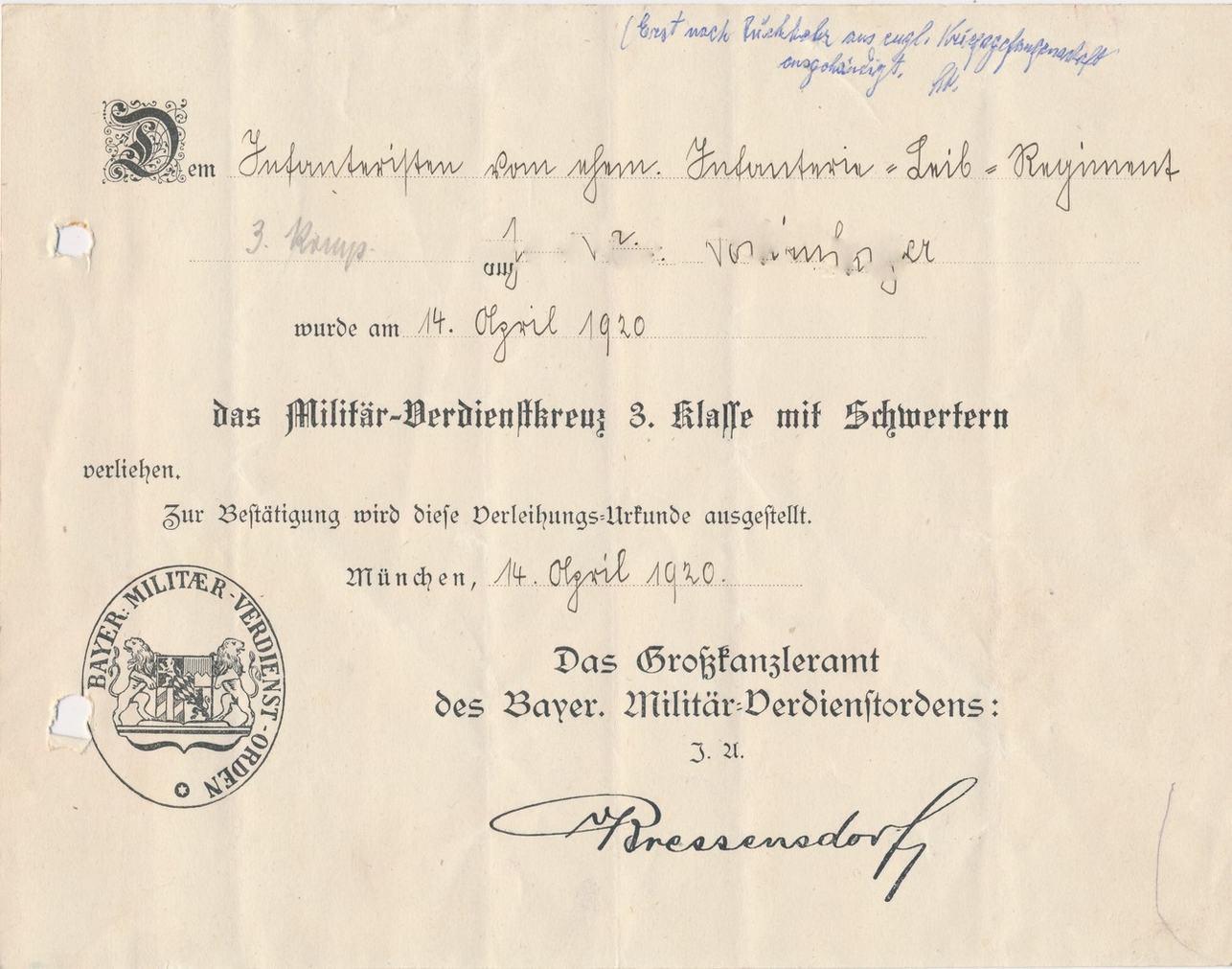 1920 Bayern Orig. Verleihungsurkunde des Bayer. Militär ...
