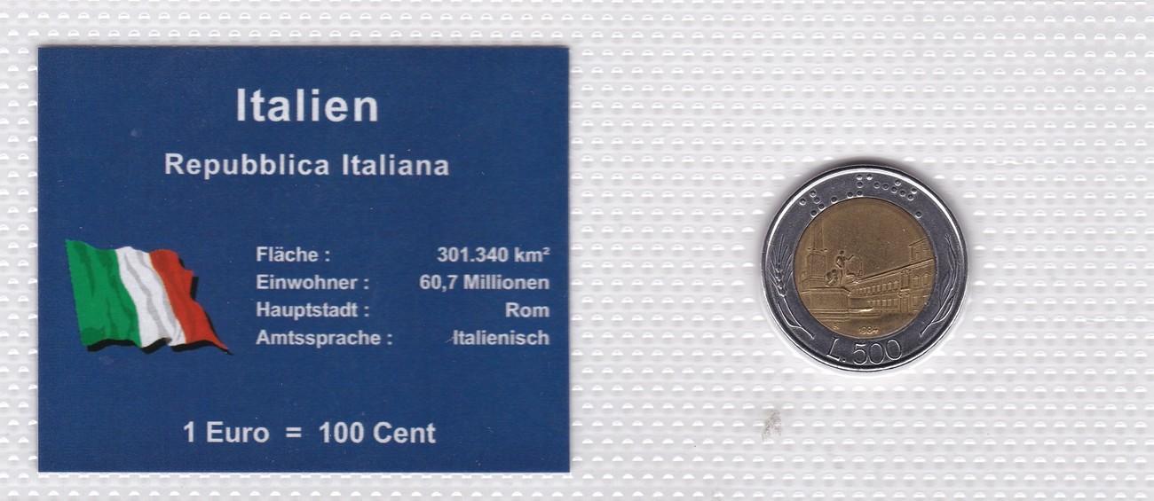 500 Lire 1984 Italien Münzen Set Italien 1 Euro 100 Cent 500 Lire