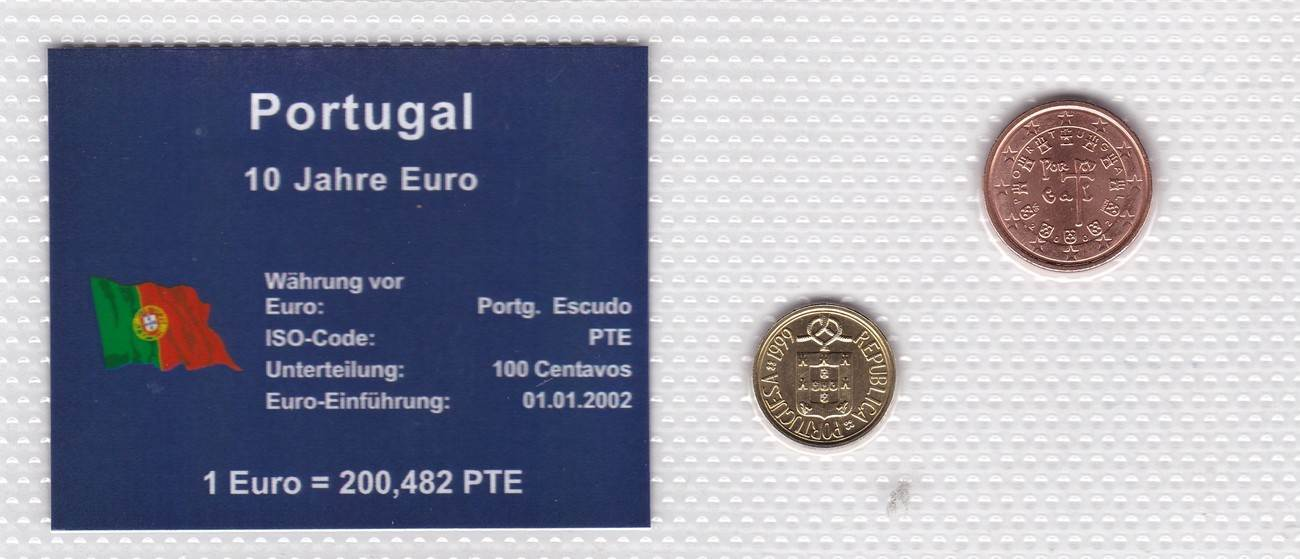 1 Cenz 1 Escudo 1999 Portugal Münzen Set Portugal 10 Jahre Euro 2