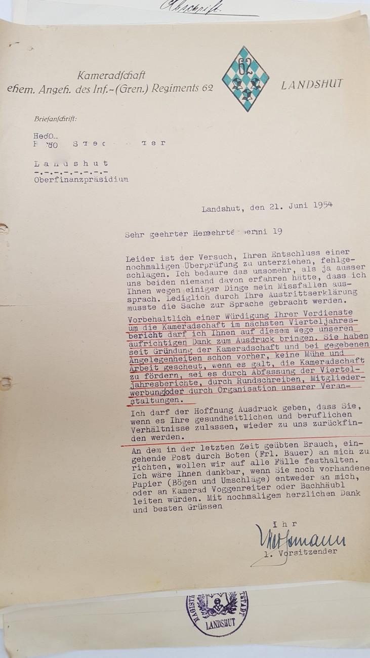 Landshut Korrespondenz Briefe Zeugnisse Stellungsbefehl Eines