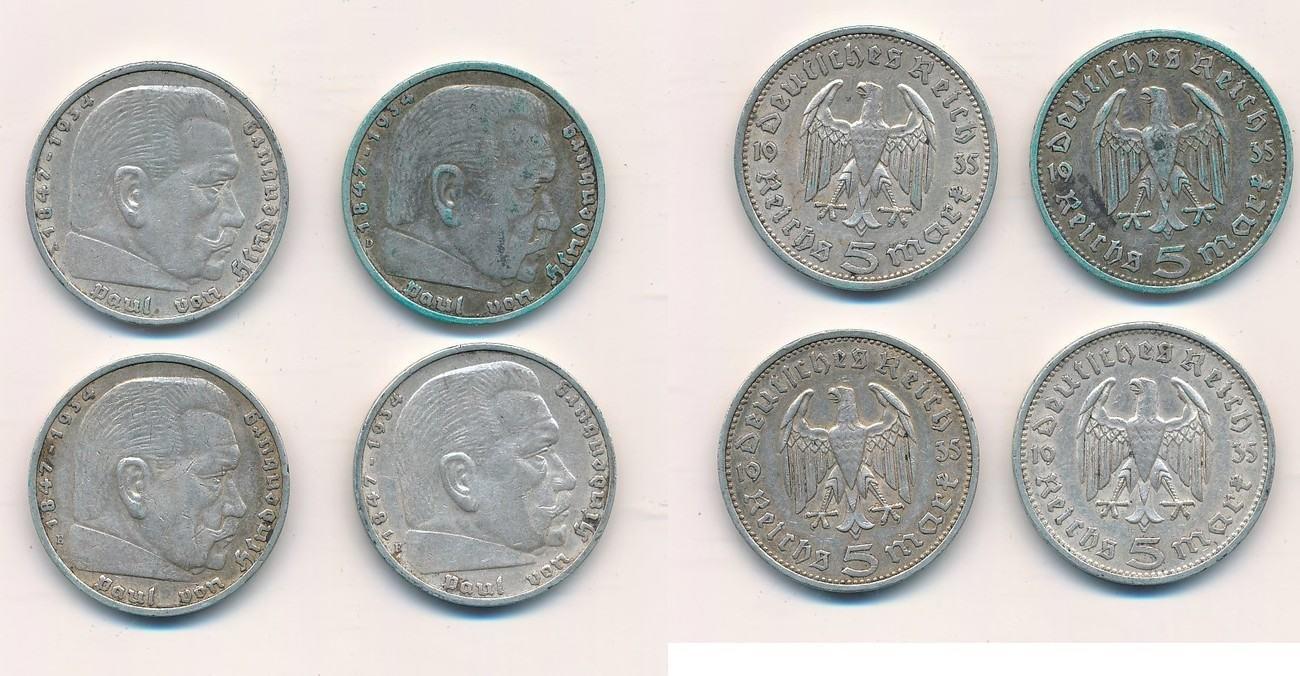 5 Mark 1935 Deutschland Lot 4 Münzen Iii Reich Hindenburg