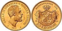 20 Kronor 1877 Schweden Oscar II vorzüglich
