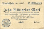 10 Mia. Mark 25.10.1923 Furtwangen - Stadt...