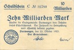 10 Mia. Mark 25.10.1923, Furtwangen - Stad...