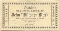 10 Mio. Mark 19.9.1923 Konstanz (Baden) - ...