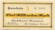 5 Mia. Mark 25.10.1923, Konstanz (Baden) -...