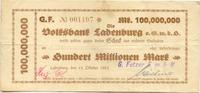 100 Mio. Mark 11.10.1923 Ladenburg (Baden)...