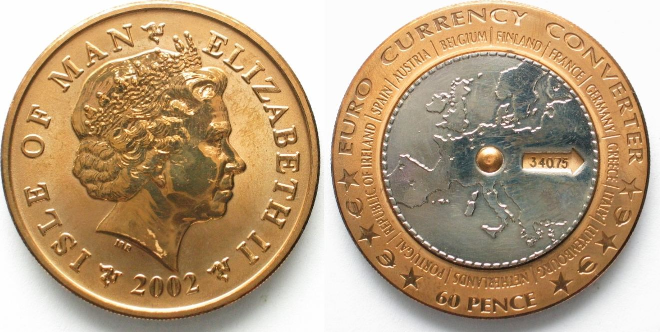 2002 Insel Man Isle Of 60 Pence Rotating Euro Currency Converter Bi Metallic 19951 Unc Ma S