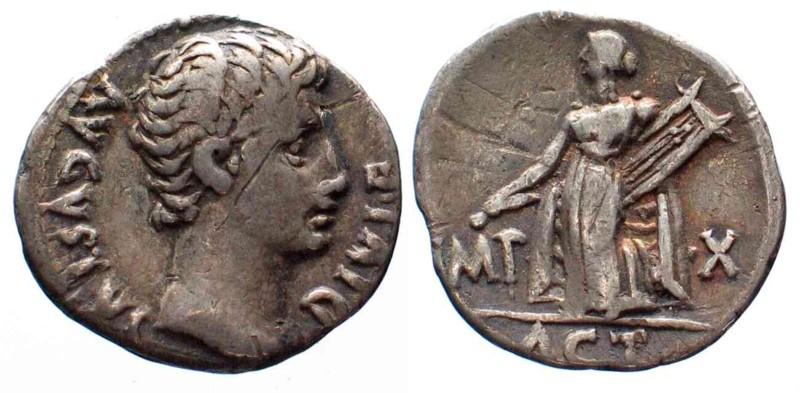 -31/14 Roman Imperial AUGUSTUS 31 BC-14 AD AR-Denarius LUGDUNUM Apoll of Actium RARE!!! VF # 23696 VF