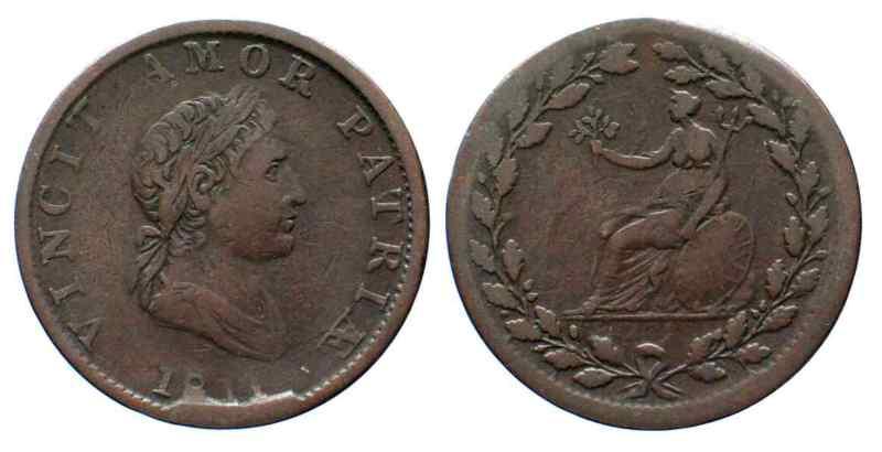 """Jeton britannique ½ Penny """"VINCIT AMOR PATRIÆ"""" 1811 28627"""
