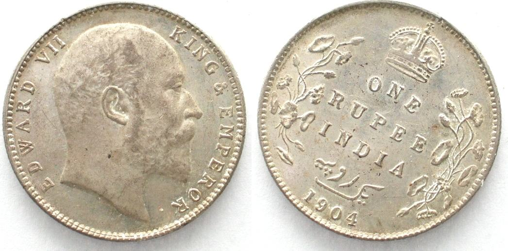 1904 Inn Britisch British India Ru Edward Vii Rotation Silver Unc 29581 Ma S