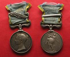 1854 England - Medaillen KRIM MEDAILLE 1854 Originalband Spange SEBASTOPOL Silber KRIMKRIEG # 92602 ss-vz