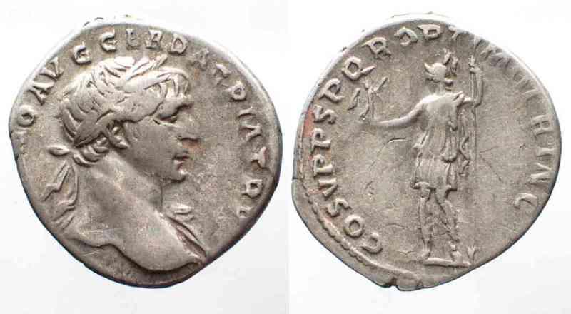 108 Roman Imperial TRAJAN 98-117 AR Denarius 108 COS V PP SPQR OPTIMO PRINC Roma w. Victory # 58075 VF