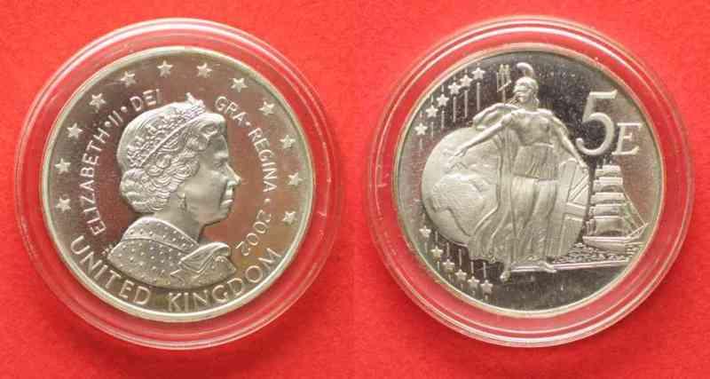 2002 England Proben United Kingdom 5 Euro Pattern Piefort Silver 34 5g 60866
