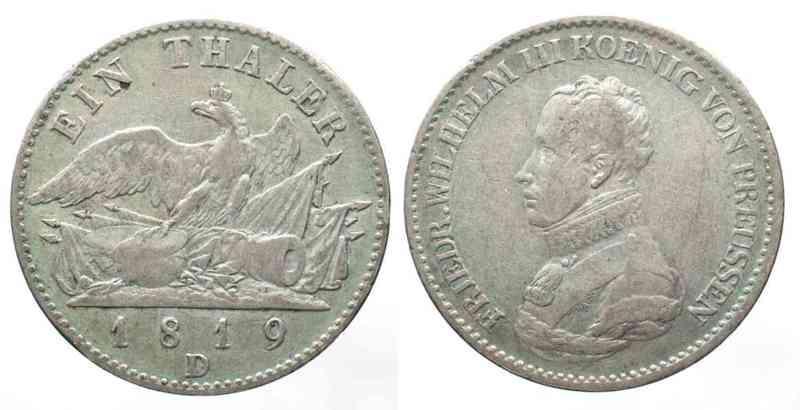 1819 Preussen PRUSSIA Thaler 1819 D FRIEDRICH WILHELM III silver VF SCARCE YEAR! # 62461 VF