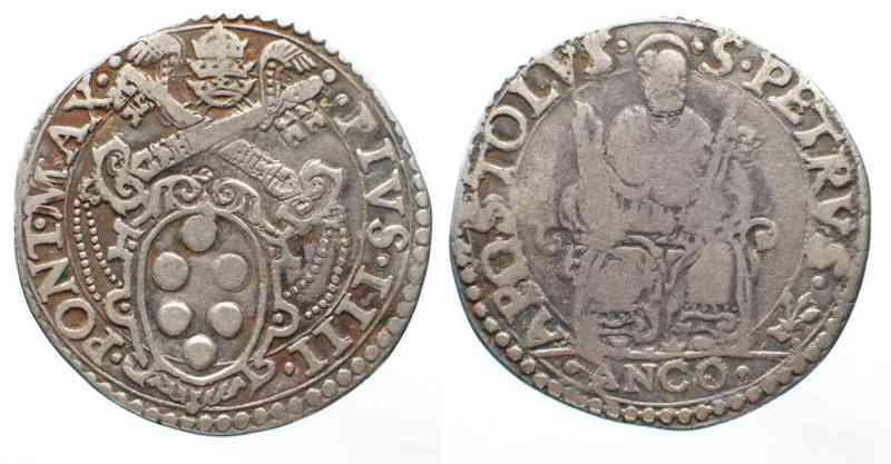 1559-1565 Vatikan - Ancona ANCONA Testone PIO IV de Medici (1559-1565) argento # 62794 ss