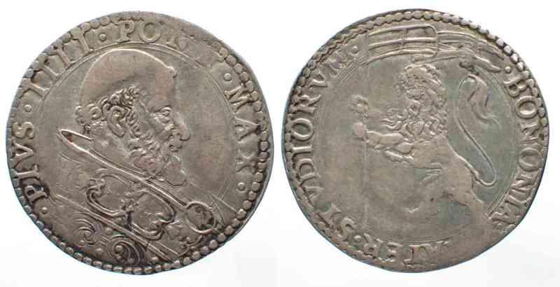 1559-1565 Vatikan - Bologna BOLOGNA Bianco PIO IV de Medici (1559-1565) argento # 62798 ss