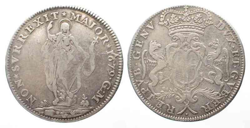 1679 Italien - Genua GENOA 2 Lire 1679 ST. JOHN silver VF - RARE!!! # 64042 VF