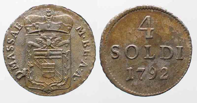 1792 Italien - Massa-Carrara Italy MASSA-CARRARA 4 Soldi 1792 MARIA BEATRICE D'ESTE billon aXF RARE!!!# 64095 aEF