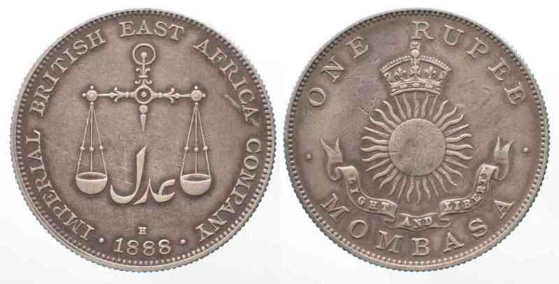 1888 Mombasa Mombasa 1 Rupee 1888 H Imperial British East