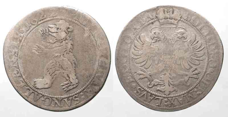 1622 Schweiz - St. Gallen Swiss SAINT GALL Thaler 1622 silver aVF # 64214 VF- MA-Shops