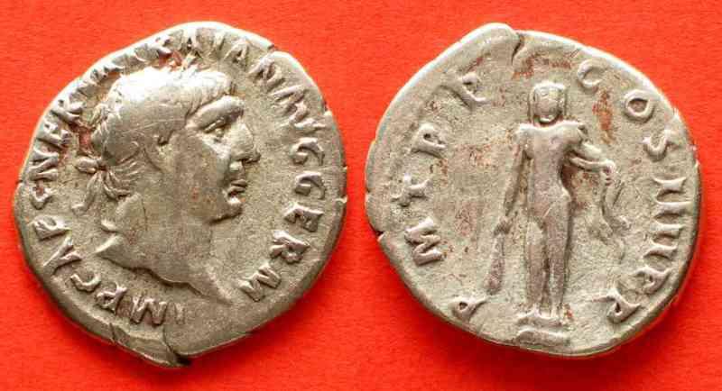 101-102 Roman Imperial TRAJAN AR Denarius 101-102 COS IIII Hercules # 68866 VF