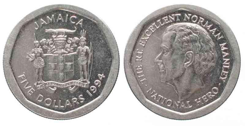 1994 Jamaika Jamaica 5 Dollars Norman Manley Steel Aunc 71117 Unc Ma S