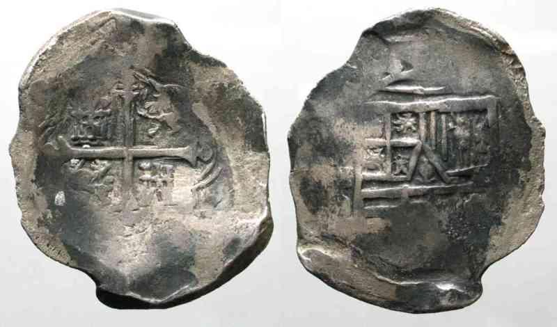 1621 1667 Mexiko MEXICO 8 Reales ND1621 67 Mexico City PHILIP IV Silver COB MACUQUINA VF 77761