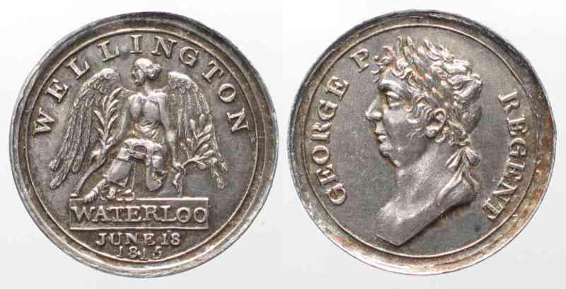 1815 British medals 1815 WATERLOO MEDAL miniature WELLINGTON GEORGE P   REGENT silver 20mm # 77812 EF / UNC