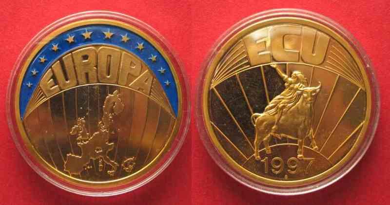 1997 Europa Europe Ecu 1997 Map Cu Ni Gold Plated Colored Proof 40mm