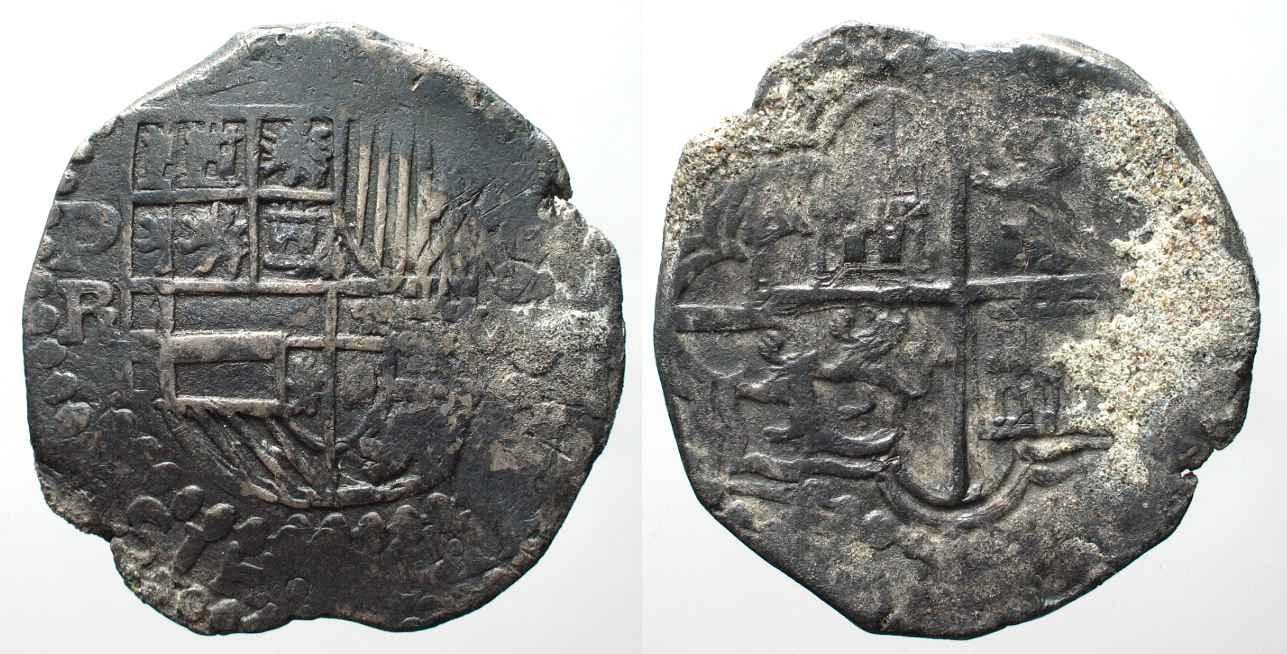 1598 1621 Bolivien BOLIVIA 8 Reales PR Potosi PHILIP III Silver COB MACUQUINA VF 82476