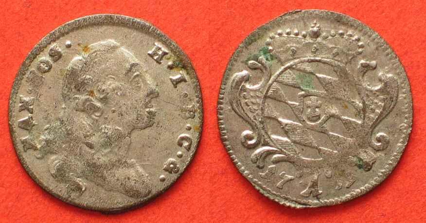 1759 Bayern Germany BAVARIA 1 Kreuzer 1759 MAXIMILIAN III JOSEPH silver  UNC! # 82811 BU (MS65-70)