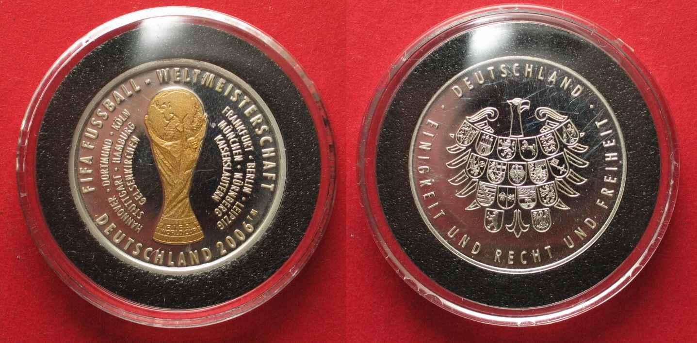 2006 Deutschland Medaillen Fifa Fussball Wm 2006 Silber Teilvergoldet 30mm 87207 Proof