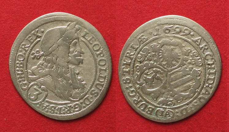 399434119 1699 Haus Habsburg AUSTRIA 3 Kreuzer 1699 St. Veit mint LEOPOLD I silver VF  # 90187 ss   MA-Shops