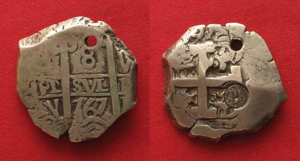 1839 Guatemala GUATEMALA 8 Reales 1767 COB Potosi COUNTERMARK Silver VF RARE 91304 Ss
